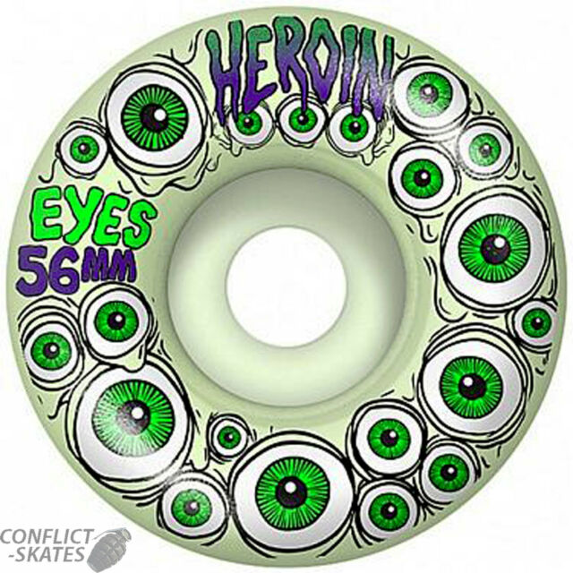 52MM HEROIN SKATEBOARD WHEELS NEW GLOW IN THE DARK SKATE WHEELS SET OF 4