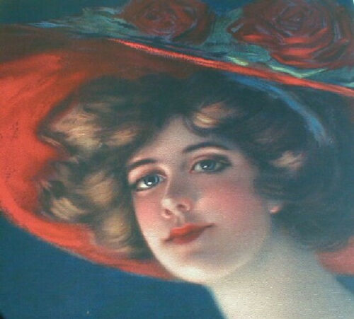 Gibson Girl SCARLETT HAMILTON KING HIGH SOCIETY Yard Long Print Lady RED HAT