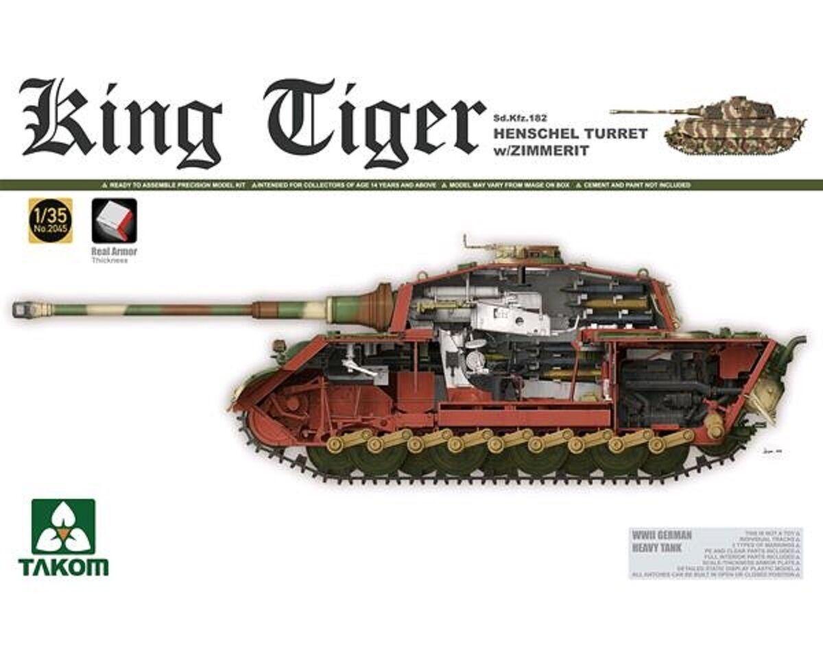 TAKOM GERMAN KING TIGER HENSCHEL TURRET W ZIMMERIT SD.KFZ.182  1 35 COD.2045