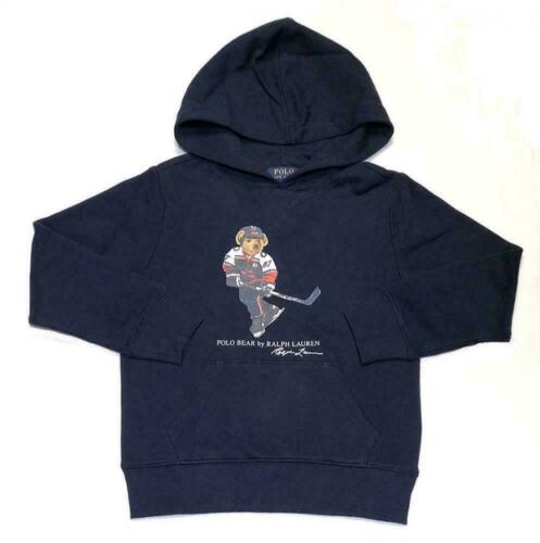 Polo Ralph Lauren Boys Kids Polo Bear Stadium Hooded Sweatshirt Hoodie Grey Navy