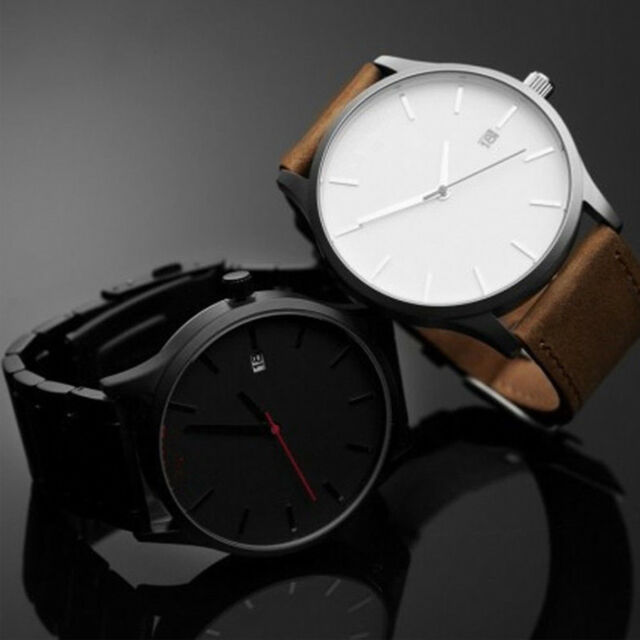 Men's Fashion Sport Stainless Steel Case Leather Band Analog Quartz New Watch
