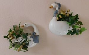 Vintage-Homco-Burwood-Country-Goose-Geese-Wall-Pocket-Planters-Farm-House-Flower
