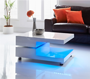 Details About Lumina White Adjustable Led Coffee Table Led Changing Lights Living Furniture