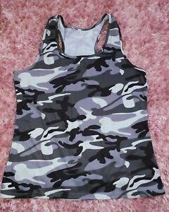 Ladies Womens Black Grey Army Camo Camouflage Sleeveless Vest Top Tshirt Size 10