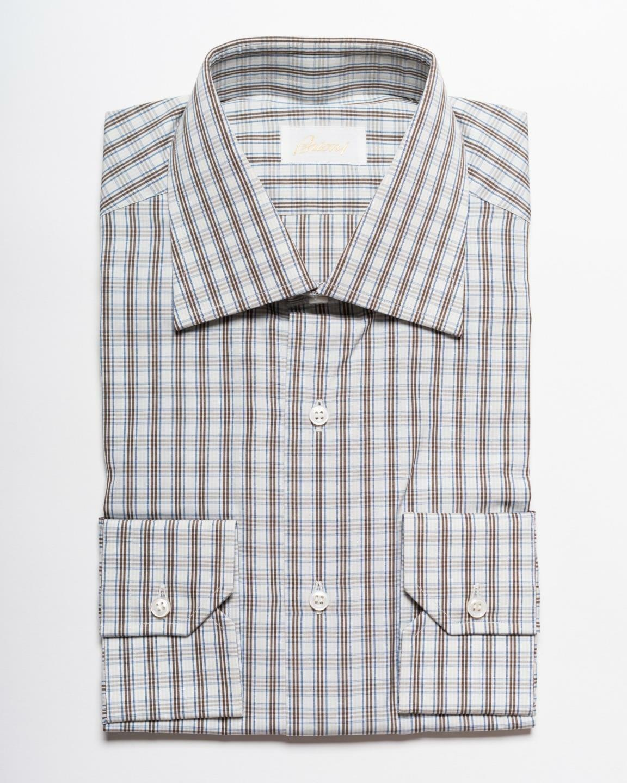 Brioni bluee Brown White Plaid Spread Collar Cotton Dress Shirt 15 US 38 IT