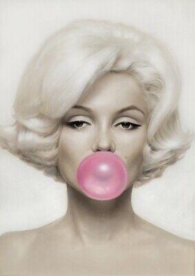 Audrey Hepburn Marilyn Monroe Pink Blue Bubble Gum Poster A5 A4 A3 A2 A1