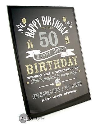 Happy 50th Birthday Gift Glass Plaque FG49450