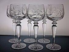 BOHEMIA CRYSTAL PIN WHEEL CUT GLASS TALL HOCK WINE GLASSES SET OF 6 -19.5CM TALL