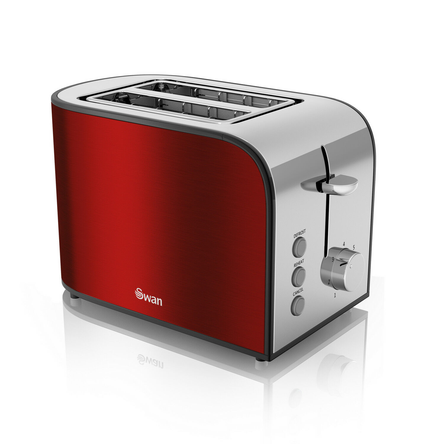 Swan 2 Slice Townhouse Variable Browning Reheat Defrost Wide Slot Red Toaster