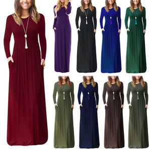 882f3dc5374 Women Casual Round Neck Long Sleeve Maxi Dress Loose Plain Autumn ...