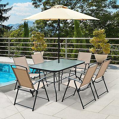 Conjunto Muebles de Jardín Terraza Exterior Sillas Sombrilla y Mesa de Cristal