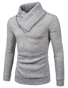 Details about (NKKT731) TheLees Mens Slim Fleece Sweatshirt Turtleneck Pullover Knit Sweater