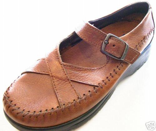 New DEXTER Women Brown Leather Comfort Mary Jane Casual Flat Shoe Sz 6 M