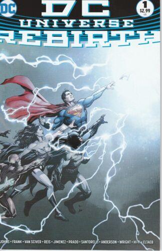 - First Print VF+//NM DC Universe Rebirth #1 Regular Cover 2016