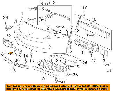 OEM NEW Front Bumper License Plate Bracket Retainer Set 14-18 Corvette 23129614