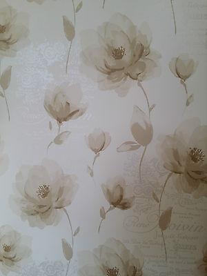 NEW Designer Marseille Cream & Beige/Taupe FLORAL LEAF FLOWER METALLIC WALLPAPER