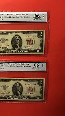 1953a-2 Consecutive Red Seal Notes,graded By Pcgs Golden Field Gem Unc 66 Opq Factory Direct Selling Price Paper Money: Us