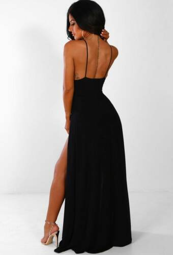 Ladies Sunset Hawaii Double Split Women/'s black Slinky Maxi Black Party Dress