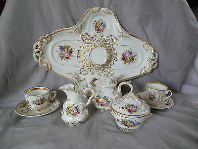 Biedermeier prachtvolles Kaffeeservice Tete a tete Tablett Kaffeekanne Blüten