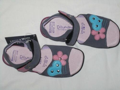 Däumling SANDALEN Schuhe dunkelblau türkis lila pink Herz Nieten Weite S schmal