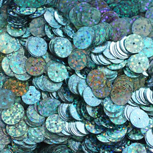 10mm Flat SEQUIN Loose PAILLETTES ~ AQUA BLUE Hologram Multi Iridescent Discs