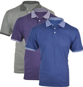 Mens-Short-Sleeve-Plain-Polo-Shirt-T-shirt-Top-Casual-Cotton-Mix