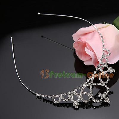 Kid Girls Rhinestone Crystal Tiara Hair Band Bridal Princess Prom Crown Headband