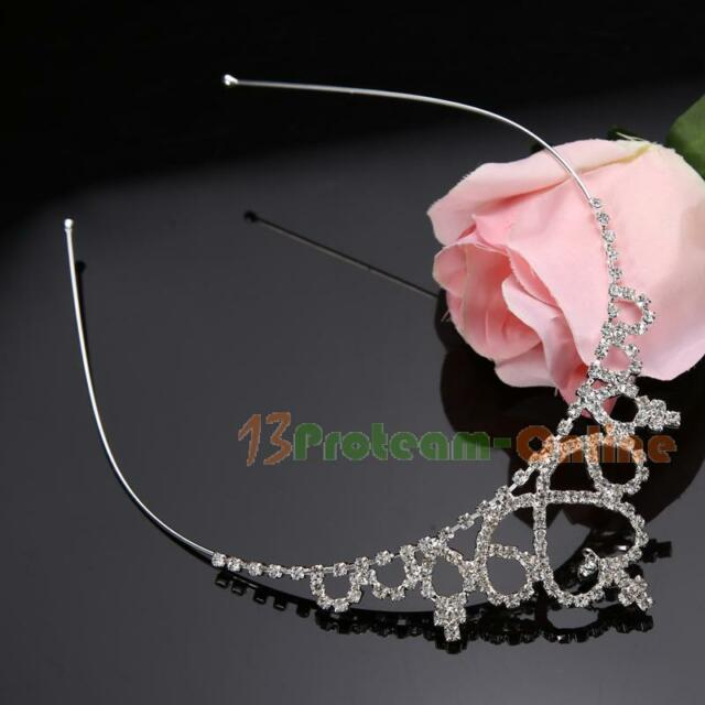 Kid Girls Rhinestone Crystal Tiara Hair Band Bridal Princess Prom Crown Headband