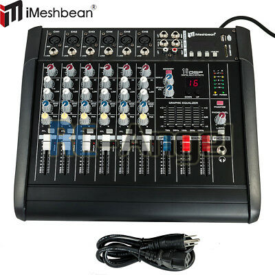 6 channel professional powered mixer power mixing amplifier 16dsp usb ebay. Black Bedroom Furniture Sets. Home Design Ideas