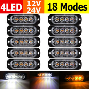 10-White-Amber-4LED-Car-Truck-Emergency-Beacon-Warning-Hazard-Flash-Strobe-Light