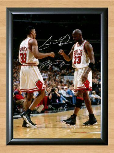 Michael Jordan Scottie Pippen Chicago Bulls Signed Autographed A4 Poster Photo