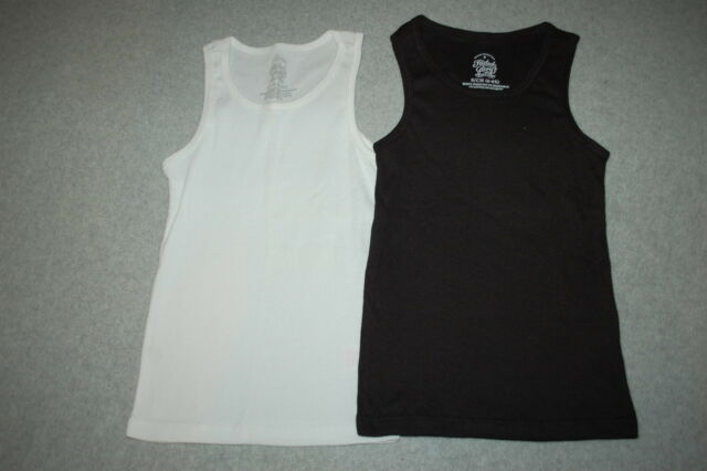 a212bf8e0c Girls 2 Lot Ribbed Tank Top Solid Color Black & White Size S 6-6x ...