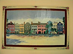 Charleston-039-s-Rainbow-Row-Cityscape-62-034-x-40-034-Painting-Oil-on-Canvas
