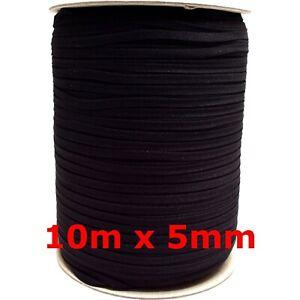 10m-x-5mm-Gummiband-schwarz-soft-Gummilitze-kochfest-Kordel-Gummizug-Maske-naehen