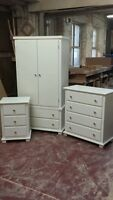 Arizona 3 Piece Bed Room Set Ivory ( Cream ) With Silver Handles Hand Made