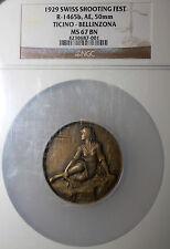 1929 Switzerland AE Swiss Shooting Medal PCGS MS67 BN Ticino Bellinzona R-1465b