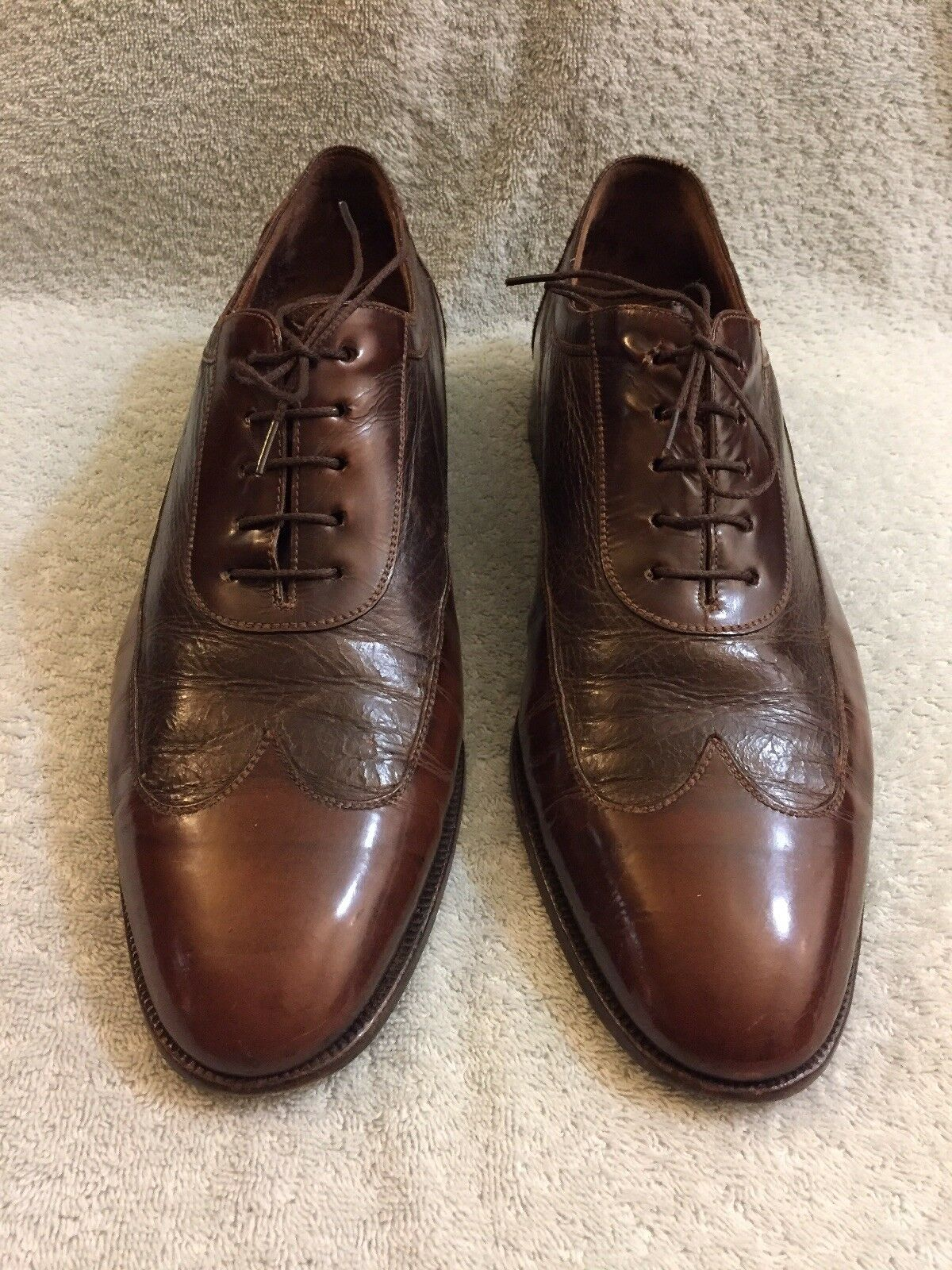 Rossetti Moda VTG  Men's Patent Leather Brown Lace Up Wingtip shoes 9.5 11 3 4""