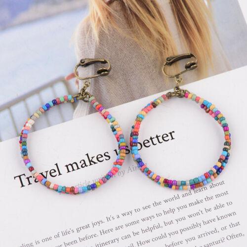 Women Bohemian Style Double Round Resin Beads Earrings Handcrafted Hook Earrings