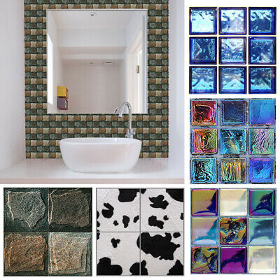 18pcs Self Adhesive 3D Wall Stickers Mosaic Tile Sticker Bathroom Kitchen Decor