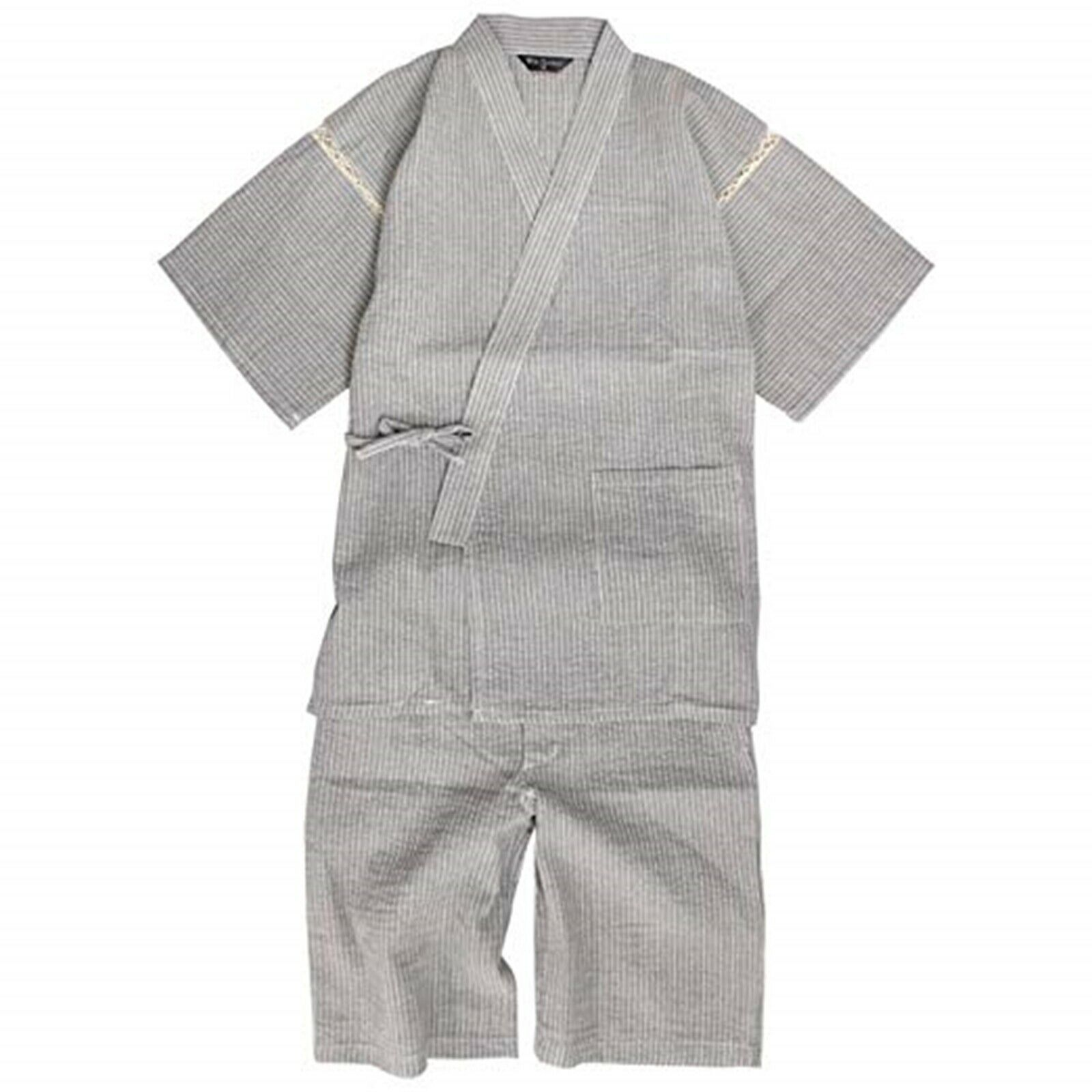 Japanese Jinbei Men's Traditional room Kimono gray Jacket Pants Shiji weave NEW