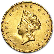 $1 Indian Princess Head Gold Coin - Type 2 - Cleaned - Random Year - SKU #61940