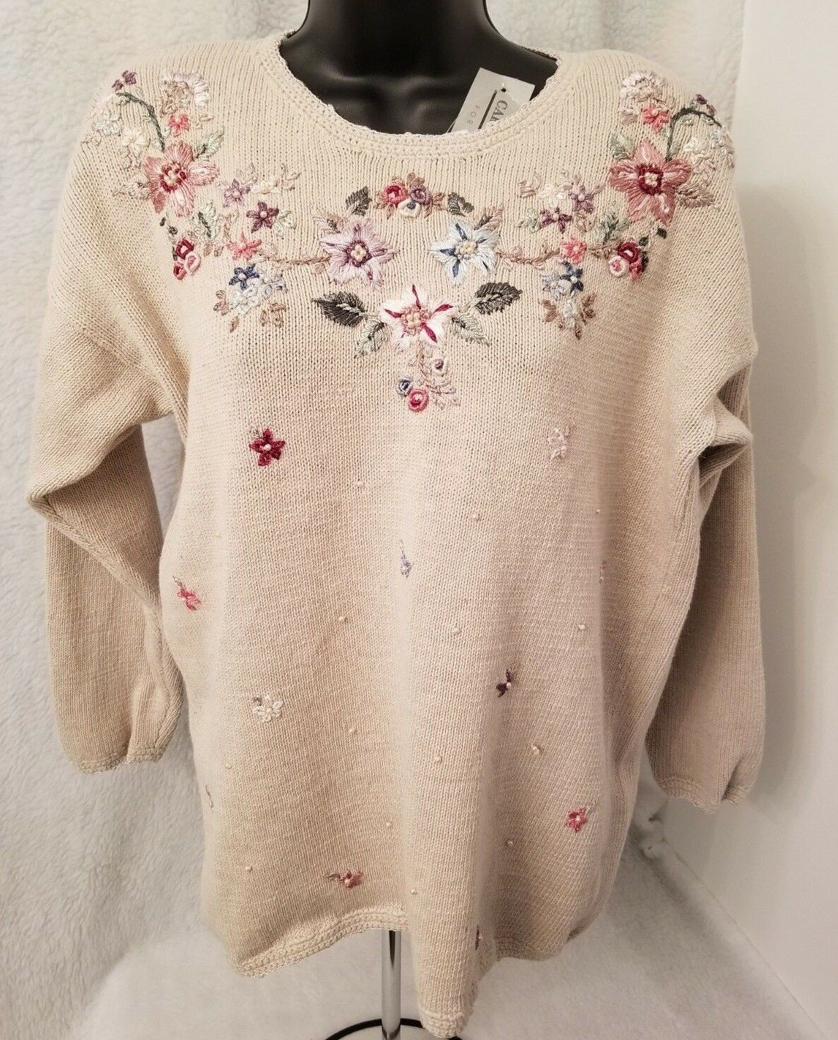 Carolyn Taylor NWT Womens Brown w  Multi color Floral Beads Sweater Top Size M