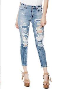 da con vita alta taglia 32 Guess a lavaggio con nebula Jeans distrutta donna risvolto 5UqUwvRa