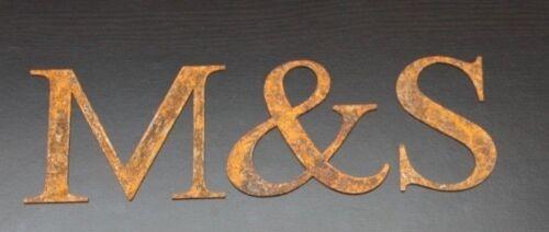 Antique RUSTY STEEL Laser Cut Lettres dans Times Roman Hauteur 250 mm toute lettre