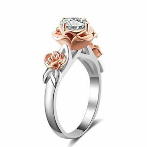 925-Sterling-Silber-Ring-Zirkonia-Edelstein-Blume-Stil-Damen-Schmuck-Geschenk