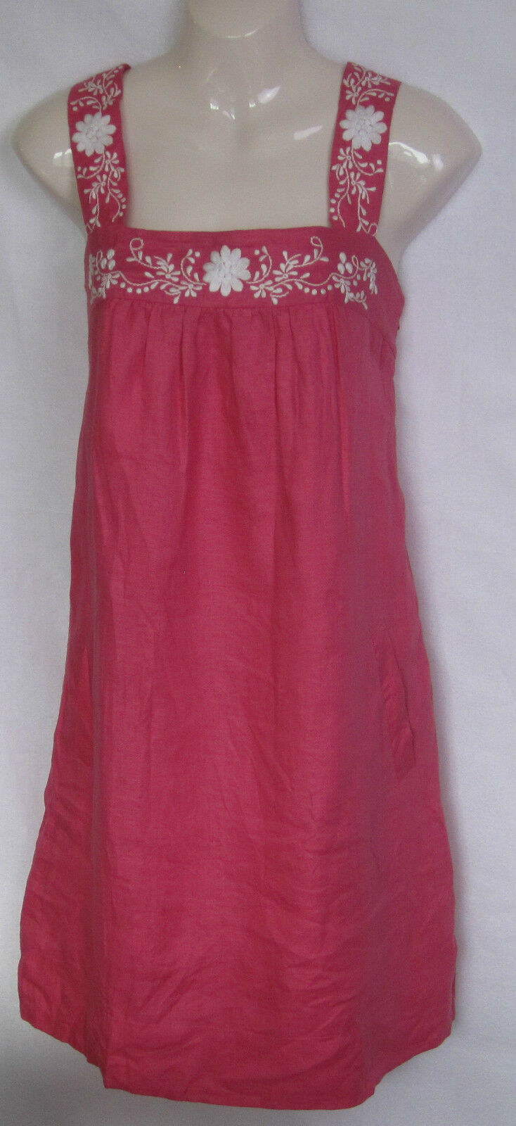 MARKS & SPENCER NEW LADIES PINK LINEN TUNIC SUN DRESS UK SIZE 10