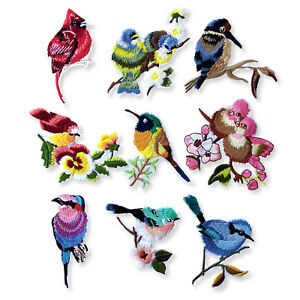 Blue-Jay-Tit-Birds-Vintage-Iron-Sew-on-Appliques-Embroidered-Patches-Craft