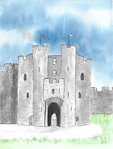 Original-mounted-watercolour-painting-The-Keep-Pembroke-Castle-10x12