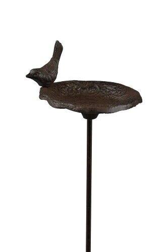 Vogeltränke Vogelbad aus Gusseisen am Stab mit Vogel 88cm braun