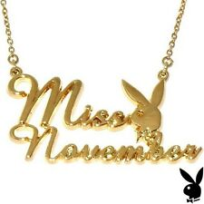 Playboy Necklace Miss November Bunny Pendant Gold Plated Playmate of The Month 1